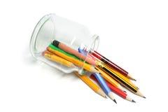 den fallna glass jaren ut pencils spill Arkivfoton