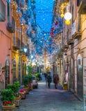 Den fantastiska för Artista för `-Luci D ` konstnären ` tänder i Salerno under jultid, Campania, Italien Royaltyfri Foto