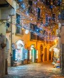 Den fantastiska för Artista för `-Luci D ` konstnären ` tänder i Salerno under jultid, Campania, Italien Royaltyfria Bilder
