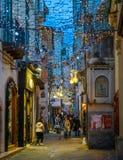 Den fantastiska för Artista för `-Luci D ` konstnären ` tänder i Salerno under jultid, Campania, Italien Royaltyfria Foton