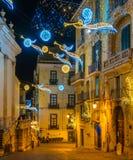 Den fantastiska för Artista för `-Luci D ` konstnären ` tänder i Salerno under jultid, Campania, Italien Arkivbild