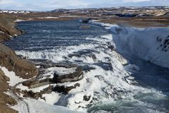 Den fantastiska Gullfoss vattenfallet i Island Fotografering för Bildbyråer