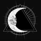 Den fantastiska månen, i form av en mänsklig skalle Esoteriskt symbol, sakral geometri Fotografering för Bildbyråer