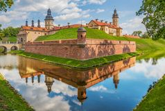 Den fantastiska Nesvizh slotten, Vitryssland arkivbild