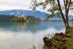 Den fantastiska slotten blödde sjön Royaltyfri Foto