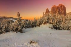 Den fantastiska solnedgången och magiska landskapet som är ensamma vaggar, Carpathians, Rumänien royaltyfri fotografi