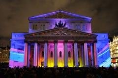 In den Farben der russischen Flagge - Bolshoi-Theater - Kreis von Ligh Lizenzfreies Stockbild