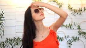 Den Fashional ståenden av brunettmodellen poserar i studio stock video