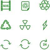 Den fastställda symbolen återanvänder, inställningar för olik design royaltyfri illustrationer