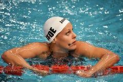 Den Federica Pellegrini simmaren segrar final för ryggsim 200mt under 7th Milano för Trofeo cittadi simning Royaltyfri Foto