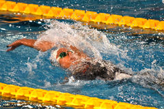 Den Federica Pellegrini simmaren segrar final för ryggsim 200mt under 7th Milano för Trofeo cittadi simning Arkivbilder