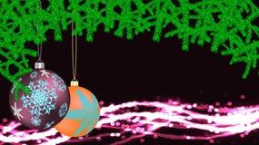 Den festliga härliga julkortet med det nya årets rundor av violetta gula bollar, leker med en ram som göras av granfilialer vektor illustrationer