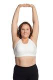Den feta kvinnan är förlovad i kondition Arkivfoton