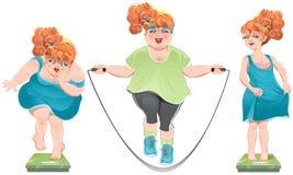 Den feta kvinnan stirrar på vågen Henne borttappad vikt Tunt rödhårigt flickaanseende på vågen vektor illustrationer