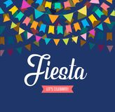 Den Fiestabanret och affischen planlägger med flaggor, garneringar stock illustrationer