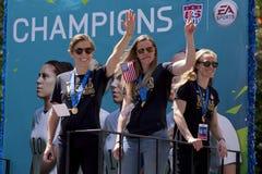 Den FIFA världscupen kämpar för laget för fotboll för USA-kvinnor det nationella Royaltyfria Bilder