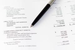 Den finansiella affären analyserar tillgångar Fotografering för Bildbyråer