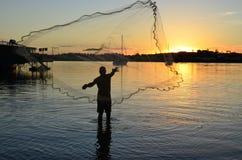 Den fischer mannen Arkivfoto