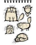 Den fluffiga kattsamlingen, skissar för din design Royaltyfri Foto