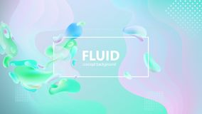 Den fluid lutningen formar sammansättning Vätskefärgbakgrundsdesign Designaffischer också vektor för coreldrawillustration stock illustrationer