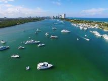 Den flyg- bilden Haulover parkerar Miami Beach Royaltyfria Foton