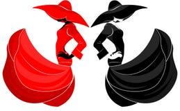 Den flyg- konturn av en härlig flicka i en klänning och hatten i vinden i ett mode utformar, svart och rött, på en isolerad bakgr vektor illustrationer