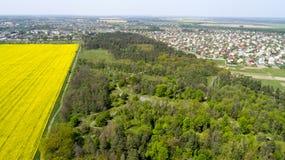 Den flyg- sikten av den Adolf Hitler bunker återstår Uppehållwerwolf nära Vinnitsa, Ukraina royaltyfria bilder
