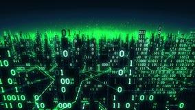 Den flyg- sikten av den abstrakta futuristiska digitala staden, en tekniskt avancerad bakgrund med binära samlingar förband till  stock video