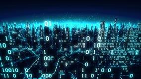 Den flyg- sikten av den abstrakta futuristiska digitala staden, en tekniskt avancerad bakgrund med binära samlingar förband till  lager videofilmer