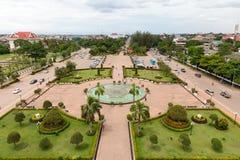Den flyg- sikten av den Vientiane staden Royaltyfria Bilder