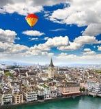Den flyg- sikten av den Zurich staden Royaltyfri Fotografi