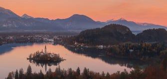 Den flyg- sikten av kyrkan av antagandet i sjön blödde, Slovenien Royaltyfria Bilder