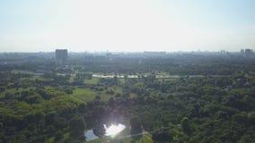 Den flyg- sikten av parkerar, sjön och stads- byggnader på horisont på den soliga dagen stock video