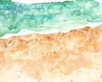 Den flyg- sikten av den sandiga stranden och havet, vattenfärghand målade illustrationen Mjuk textur för havvågor stock illustrationer