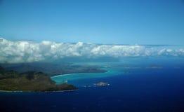 Den flyg- sikten av Sandy Beach, kanin och, vaggar öar, Makapuu Po Arkivfoto