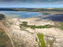 Den flyg- sikten av torkan påverkade våtmarkfloden Murray arkivfoto
