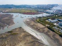 Den flyg- sikten av träväderkvarnen på Incheon ekologiska Sohrae parkerar Royaltyfria Foton