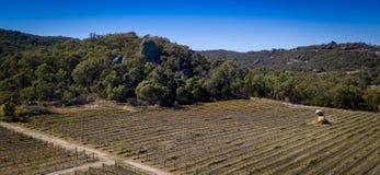 Den flyg- sikten av vingårdar och granit vaggar i Stanthorpe, Australien Arkivfoto