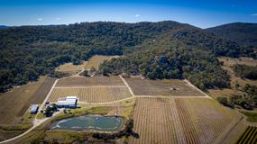 Den flyg- sikten av vingårdar och granit vaggar i Stanthorpe, Australien Fotografering för Bildbyråer
