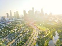 Den flyg- sikten i stadens centrum Houston och fjärde avvärjer området Royaltyfri Foto