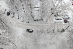 Den flyg- sikten under ett tungt snöfall royaltyfria bilder