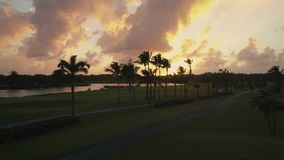 Den flyg- surrsikten av golfbanan med gömma i handflatan och sjön, aftonen, solnedgång stock video