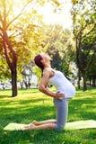 Den fokuserade gravida kvinnan som gör yoga på mattt parkerar in Arkivbilder