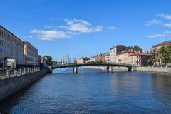 Den Fontanka flodinvallningen i StPetersburg Arkivbild