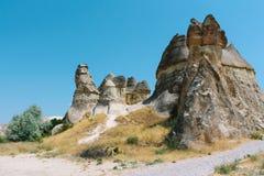 Den formade Pasabag dalchampinjonen vaggar bildande, felika lampglas i Cappadocia, Turkiet Arkivbilder
