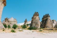 Den formade Pasabag dalchampinjonen vaggar bildande, felika lampglas i Cappadocia, Turkiet Arkivbild