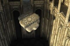 Den forntida övergav templet i grottan med kolonner och altaret Fotografering för Bildbyråer