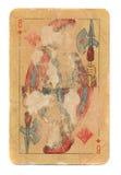 Den forntida använda gnidna spela kortstålar av diamanter skyler över brister bakgrund Arkivbild