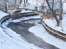 Den forntida bron med stängda skulpturer och en flod i en vinter parkerar Royaltyfria Foton