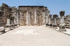 den forntida capernaumen fördärvar synagogan Royaltyfri Bild